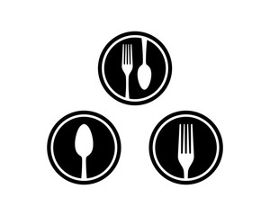 Black Circle Spoon and Fork on the Restaurant Flat Logo Symbol Vector Set