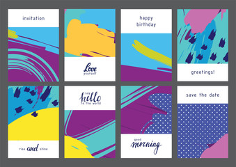 Set of creative universal geometric cards. Designs for prints, wedding, anniversary, birthday, Valentine's day, party invitations, posters, cards, etc. Vector. Isolated.