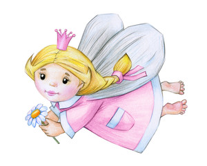 Cute little angel  cartoon  isolated, hand drawing.