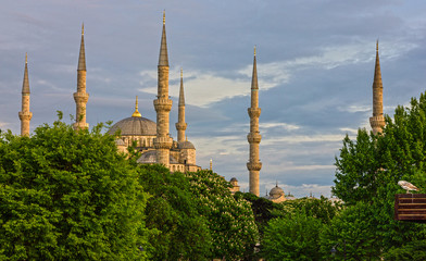 Istanbul mosque Sultanahmet architectural view, Blue mosque