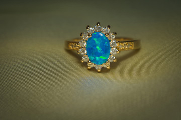 Gold Ring with Blue Opal