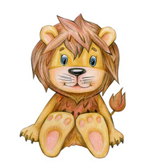 Cute  sitting lion cartoon  isolated, hand drawing.