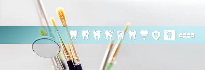 Dental technician concept tools with teeth icons and symbols web banner background
