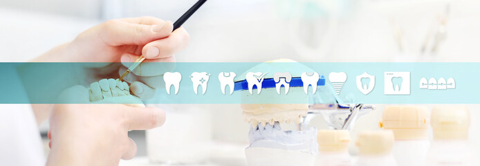 Dental technician hands working, teeth icons and symbols, web banner background