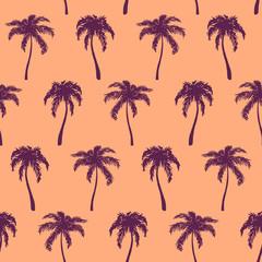 Monochrome orange violet tropical palm tree hand drawn sketch seamless pattern texture background vector