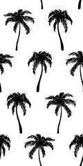 Monochrome black and white tropical palm tree hand drawn sketch seamless pattern texture background vector