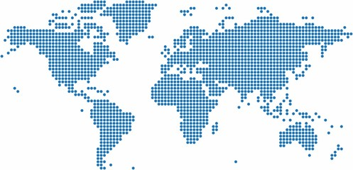 Foto op Plexiglas Wereldkaart Blue dots world map on white background, vector illustration.