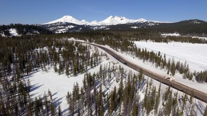 Wall Mural - Highway Cuts Through The Cascade Mountains Central Oregon