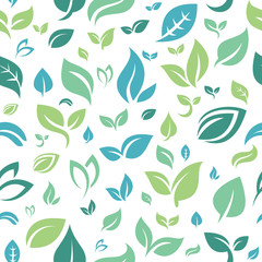 Seamless Repeating Pattern of Leaf Nature Garden