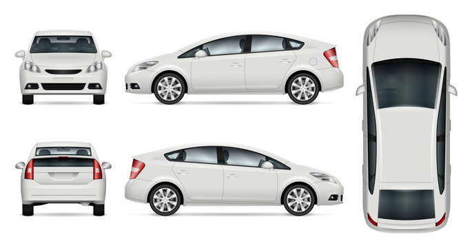 White car vector mock-up for advertising, corporate identity. Isolated car template on white background. Vehicle branding mockup. All layers and groups well organized for easy editing and recolor.