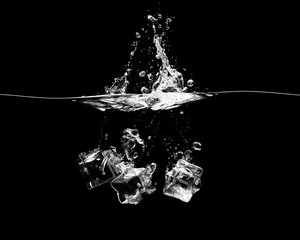 Falling ice cubes on a black background