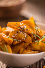 Potatoes. Roasted american potatoes with rosemary salt and cumin