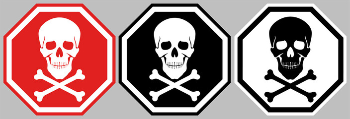 Sign of the skull and bones. An octagonal poster with an image symbolizing danger and death.
