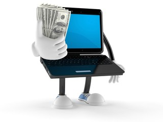 Laptop character with money