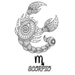 Zendoodle design of Scorpio zodiac sign for design element and adult coloring book page. Stock Vector