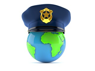 World globe with police cap