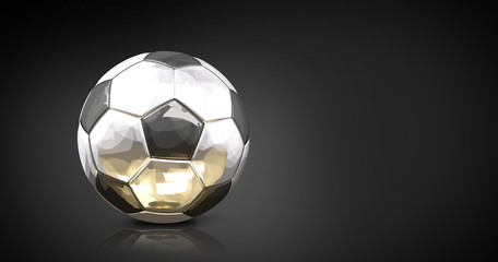 silver golden reflection soccer football ball front of modern dark background 3d rendering