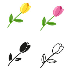Vector Set of Tulip Flower Icons