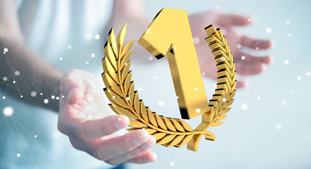 Businessman winning the first golden price 3D rendering