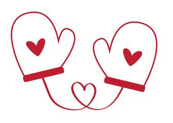 Heart Valentines Day Mittens