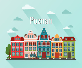 Vector illustration of Poznan. Old european city.
