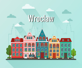 Vector illustration of Wroclaw. Old european city.