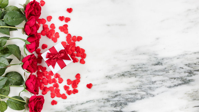 Hearts and Roses for Holiday Love on marble background