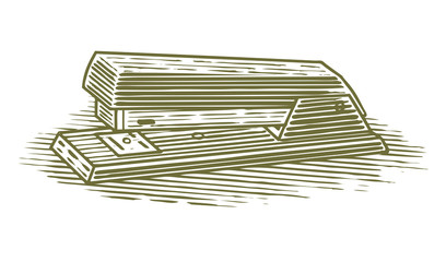 Woodcut illustration of an stapler.