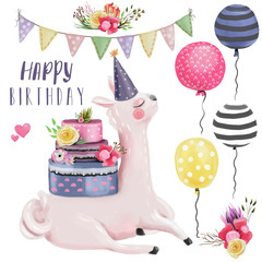 Watercolor llama, alpaca, with birthday cake with floral decoration, wreath, and hat. Happy Birthday watercolor design elements collection. Balloons, flags, flowers, hearts and lettering