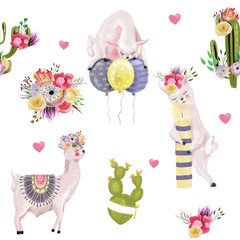 Cute watercolor llamas, alpaca with flowers, balloons, candle, hearts and cactus (succulet, cacti) birthday seamless pattern