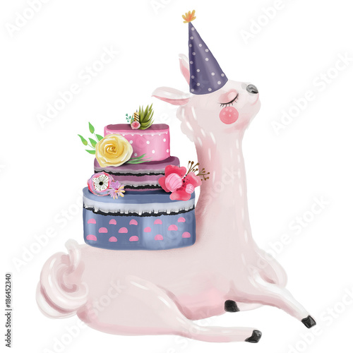 Cute Watercolor Dreaming Llama With Beautiful Birthday Cake Decorated Flowers And Hat