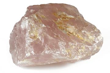 Brazilian rose quartz isolated on white background
