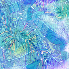 Watercolor textured seamless pattern. Tropical background. Hand painted illustration.