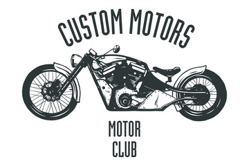 Vintage Motor Club Sign and Label on white background. Emblem of bikers and riders.