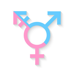 Third gender and sex symbol concept made of half male and half female sign on white background