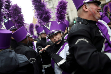 A member of a marching band performs during the New Year's Day parade in London