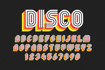 80's retro font, disco style, alphabet and numbers