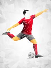 Stylized, geometric soccer player