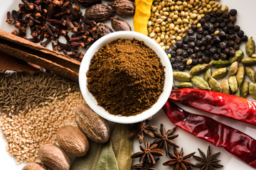 Foto op Canvas Kruiden Colourful spices for Garam Masala. Food ingredients for garam masala, indian spice mix with Powder. Selective focus