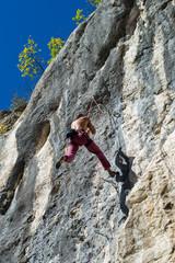 Extreme autumn,rock climbing