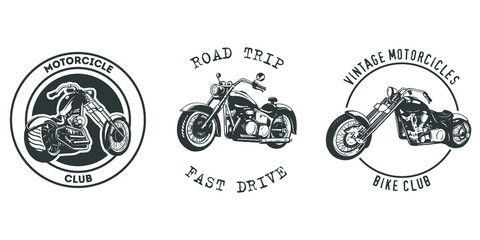 Vintage Motor Club Sign and Label set on white background. Emblem of bikers and riders.