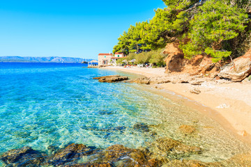 Idyllic beach on coast of Brac island near Bol town, Brac island, Croatia