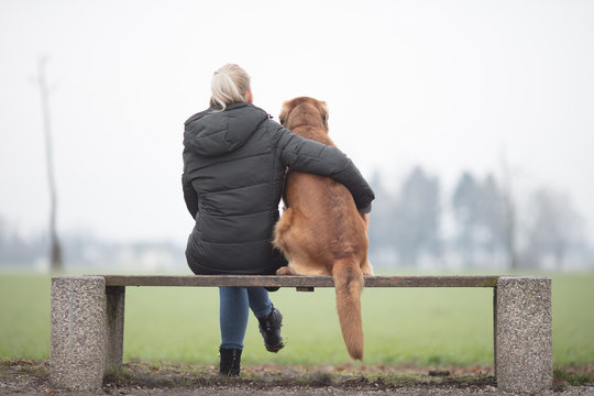 beautiful dog owner with her big  brown dog, sitting on a bank and looking into the future