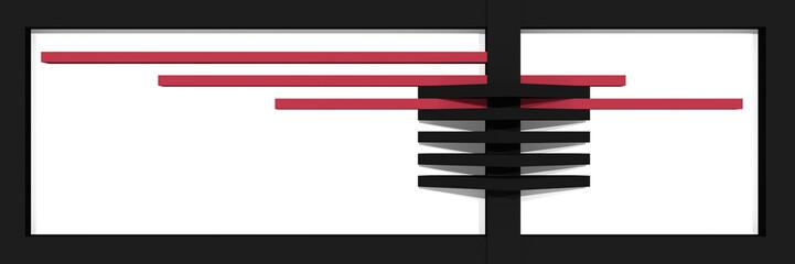 Header/Banner für die Website mit klaren Linien und Kastenform in schwarz, altrosa und weiß.