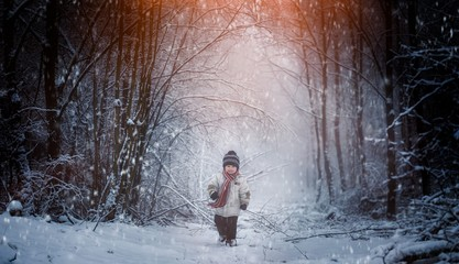 Young boy on country road in winter. Caucasian boy portrait