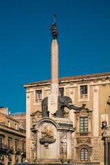 The elephant (Catania emblem) in the main square of the city. Catania, Sicily, Italy.