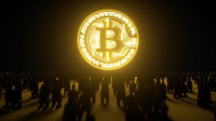 Menschen knien vor einer großen Bitcoin Münze