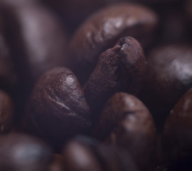 freshly roasted coffee close-up, macro with shallow depth of field