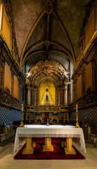 Interior of the 15th-century Church of St. John the Baptist in Tomar, Portugal, built by King Manuel I in the Manueline style.