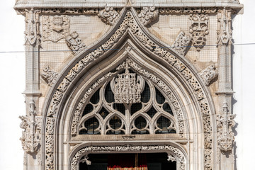 Fragment of the facade of the Church of St. John the Baptist in Tomar, Portugal